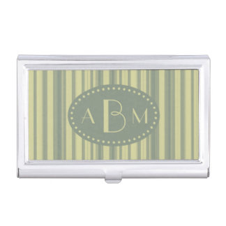 Monogram Celery and Sage Green Stripe Business Card Holders