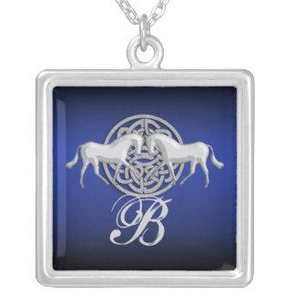 Monogram celtic horse roman granite white blue silver plated necklace