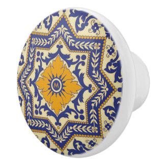 Monogram Ceramic Azulejo Style Blue Ceramic Knob