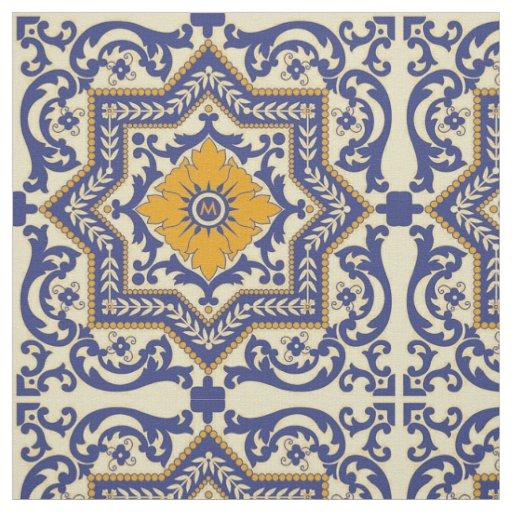 Monogram Ceramic Azulejo Style Blue Orange Fabric