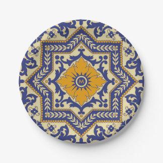 Monogram Ceramic Azulejo Style Blue Paper Plate 7 Inch Paper Plate
