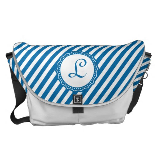 Monogram Cerulean Blue and White Diagonal Stripes Courier Bags