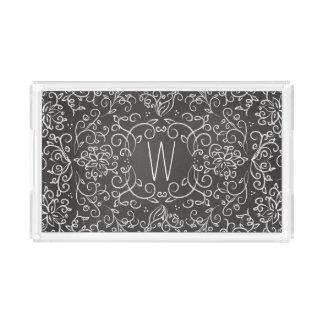 Monogram Chalk Black and White Filigree Acrylic Tray