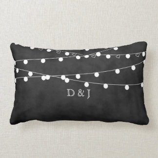 Monogram Chalkboard Fairy Lights & Hearts Pillow