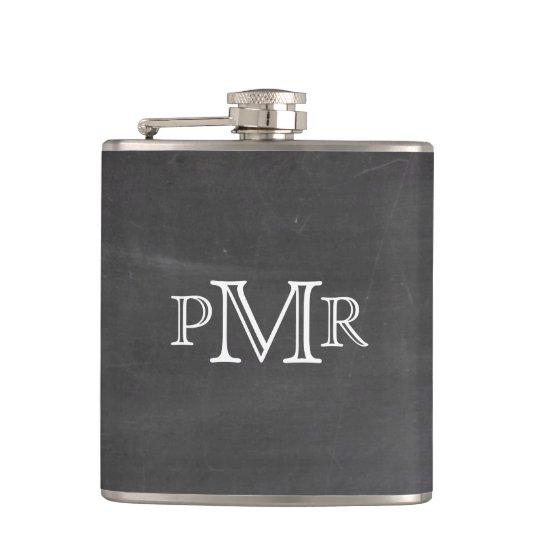 Monogram Chalkboard Flask