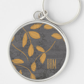 Monogram Chalkboard Leighton Floral Design Silver-Colored Round Key Ring