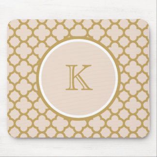 Monogram Champagne Pink and Gold Color Quatrefoil Mouse Pad