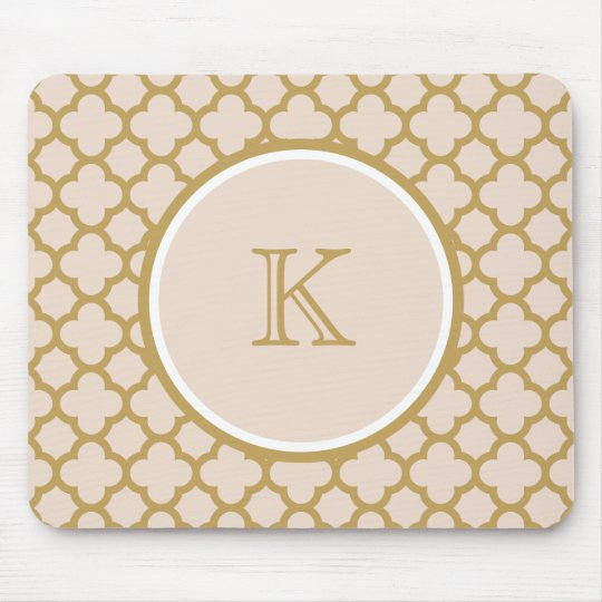 Monogram Champagne Pink and Gold Colour Quatrefoil Mouse