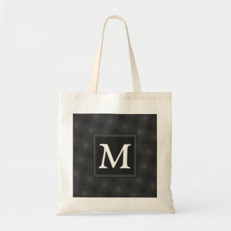 Monogram charcoal circles pattern tote bag