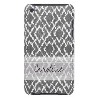 Monogram Charcoal Gray Tribal Ikat Diamond Pattern iPod Touch Covers
