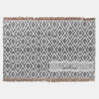 Monogram Charcoal Gray Tribal Ikat Diamond Pattern Throw Blanket