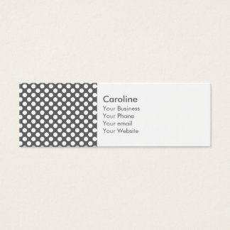 Monogram Charcoal Gray White Polka Dot Pattern Mini Business Card