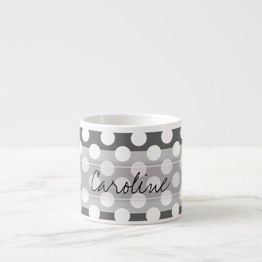 Monogram Charcoal Grey White Polka Dot Pattern Espresso