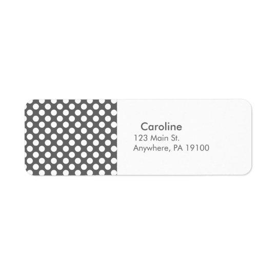 Monogram Charcoal Grey White Polka Dot Pattern Return Address Label