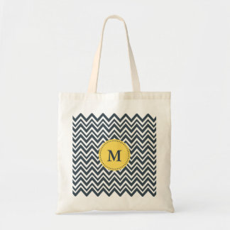 Monogram Charcoal, White and Yellow Zigzag Pattern Tote Bag