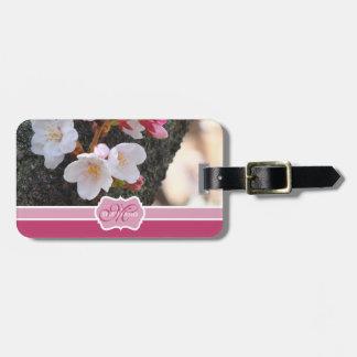 Monogram Cherry Blossom Sakura Blooming Tree Trunk Bag Tags