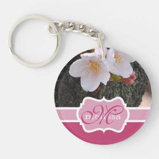 Monogram Cherry Blossom Sakura Blooming Tree Trunk Double-Sided Round Acrylic Key Ring