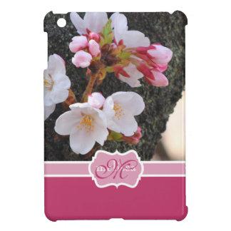 Monogram Cherry Blossom Sakura Blooming Tree Trunk iPad Mini Cover