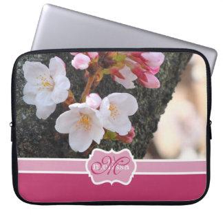 Monogram Cherry Blossom Sakura Blooming Tree Trunk Laptop Sleeve