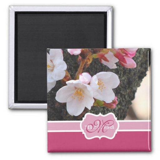 Monogram Cherry Blossom Sakura Blooming Tree Trunk Fridge Magnet