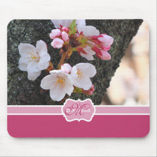 Monogram Cherry Blossom Sakura Blooming Tree Trunk Mouse Mat