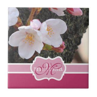 Monogram Cherry Blossom Sakura Blooming Tree Trunk Small Square Tile