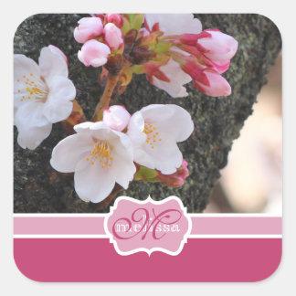 Monogram Cherry Blossom Sakura Blooming Tree Trunk Square Sticker