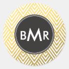 Monogram Chevron Argyle with Gold Faux Foil Classic Round Sticker