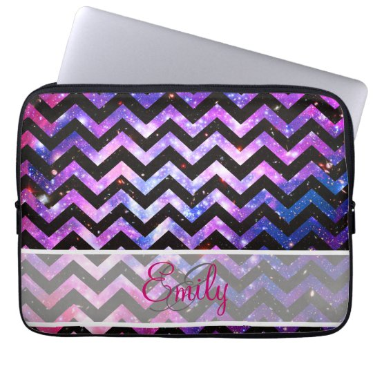 Monogram Chevron Cute Pink Teal Nebula Galaxy Laptop