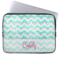 Monogram Chevron Girly Teal Pink Glitter Laptop Computer Sleeves