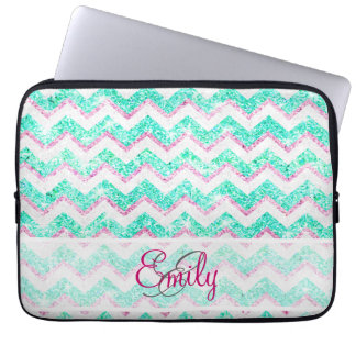Monogram Chevron Girly Teal Pink Glitter Laptop Sleeve
