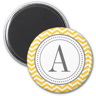 Monogram Chevron Magnet - yellow and gray