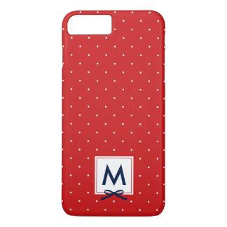 Monogram Chic Blue Ribbon Red Polka Dot Pattern iPhone 8 Plus/7 Plus Case