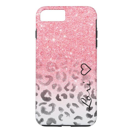 Monogram chic faux pink glitter leopard watercolor iPhone