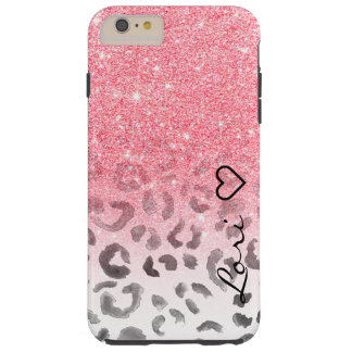 Monogram chic faux pink glitter leopard watercolor tough iPhone 6 plus case