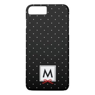 Monogram Chic Red Ribbon Black Polka Dot Pattern iPhone 8 Plus/7 Plus Case