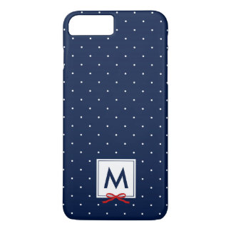 Monogram Chic Red Ribbon Blue Polka Dot Pattern iPhone 8 Plus/7 Plus Case