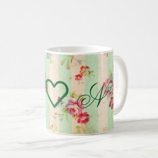 Monogram chic vintage floral coffee mug