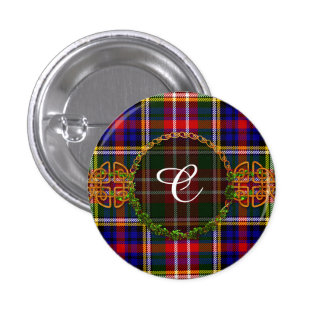 Monogram Christie Tartan 3 Cm Round Badge
