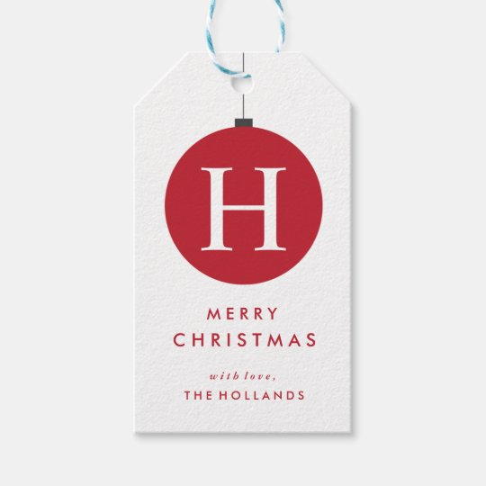 Monogram Christmas Ball Gift Tags | CHRISTMAS