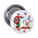 Monogram Christmas Button T