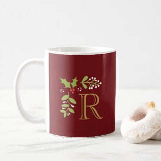 Monogram Christmas Holly & Mistletoe Coffee Mug