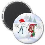Monogram Christmas Magnet T