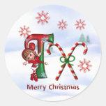 Monogram Christmas Sticker T