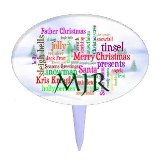 Monogram Christmas word collage and snowscene Cake Pick
