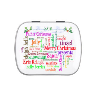Monogram Christmas word collage and snowscene Jelly Belly Tins