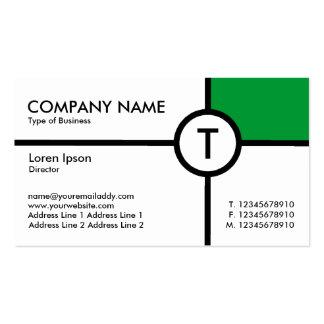 Monogram Circle Cross (Grass Green) - White Business Card Template