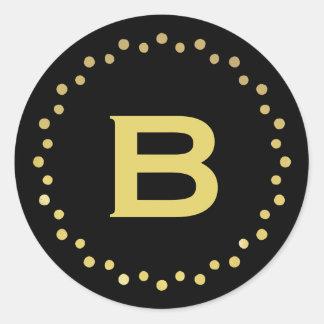 Monogram Circle Dots Sticker Label / Black & Gold