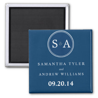 Monogram Circle Navy Blue Save the Date Magnet Magnet