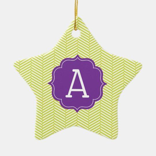 Monogram Citron Chevron with Purple Christmas Ornament